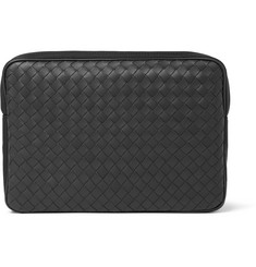 Bottega Veneta Canvas-Trimmed Intrecciato Leather Pouch