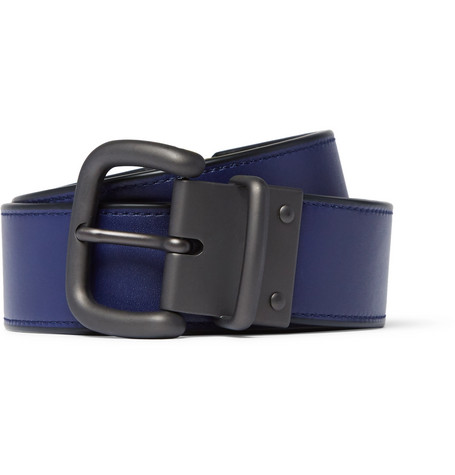 3.5cm Blue And Black Reversible Intrecciato Leather Belt - Blue