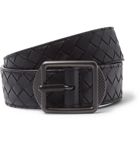 3.5cm Navy Intrecciato Leather Belt by Bottega Veneta