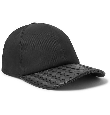 Intrecciato leather and cotton-blend cap Bottega Veneta 9QJBA