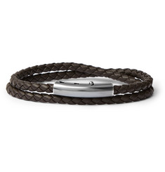 Bottega Veneta - Intrecciato Leather and Oxidised Silver-Tone Wrap Bracelet