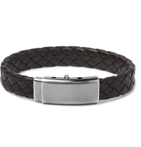 Bottega Veneta Intrecciato Leather And Oxidised Silver-tone Bracelet - Dark brown hHuo9