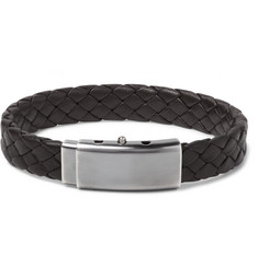 Bottega Veneta Intrecciato Leather and Oxidised Silver-Tone  Bracelet