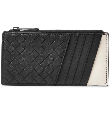 BOTTEGA VENETA TWO-TONE INTRECCIATO LEATHER ZIPPED CARDHOLDER