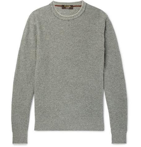 91b63e1cf Loro Piana Slim-Fit Waffle-Knit Baby Cashmere Sweater In Gray ...