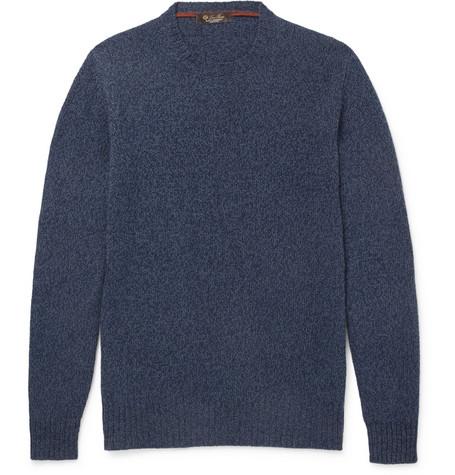 Loro Piana Men's Light Baby Cashmere Crewneck Sweater In Blue
