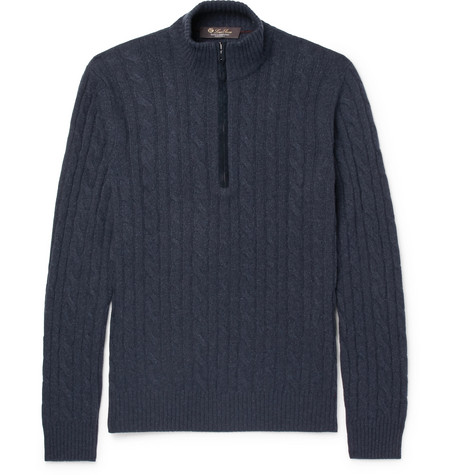 d0769426c1ea Loro PianaSuede-Trimmed Cable-Knit Baby Cashmere Half-Zip Sweater