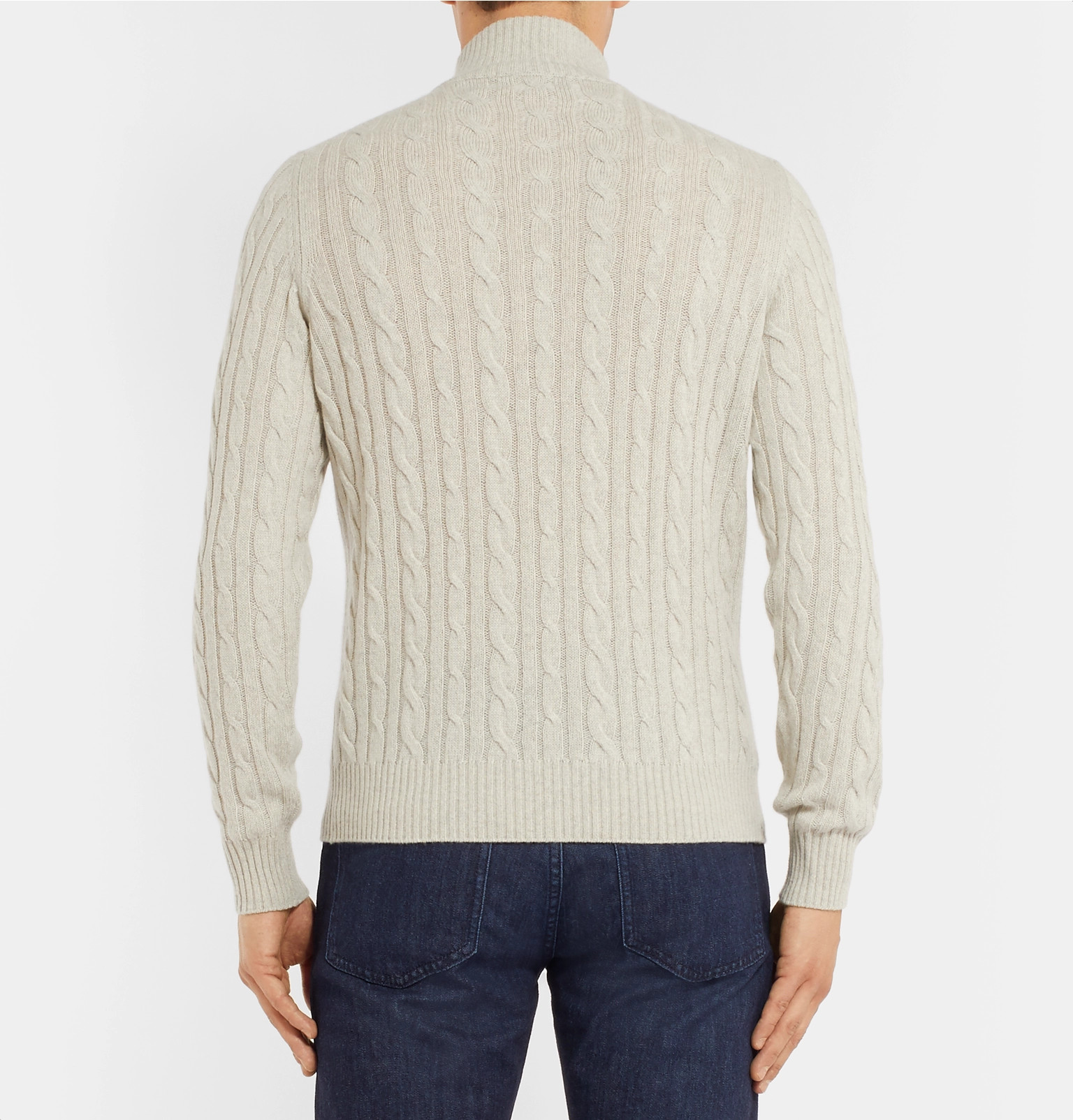 fd2ad202fdda Loro Piana - Suede-Trimmed Cable-Knit Baby Cashmere Half-Zip Sweater