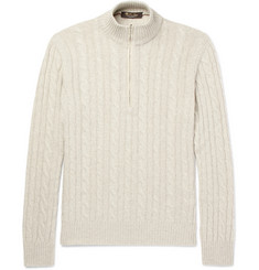 Loro Piana - Suede-Trimmed Cable-Knit Baby Cashmere Half-Zip Sweater