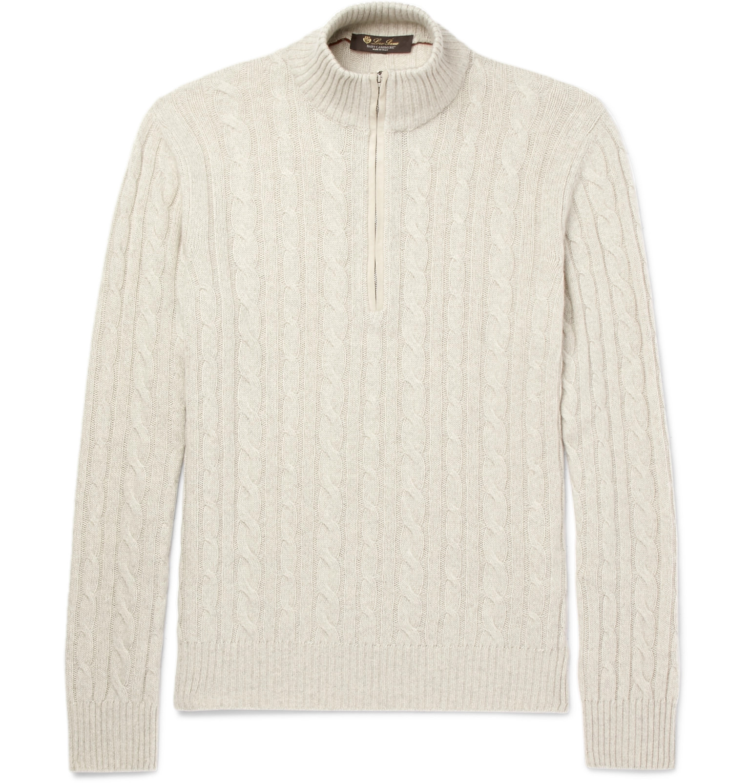 ce9b1a941600 Loro Piana - Suede-Trimmed Cable-Knit Baby Cashmere Half-Zip Sweater
