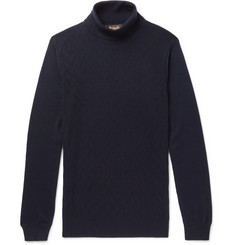 Loro Piana Slim-Fit Herringbone Cashmere Rollneck Sweater