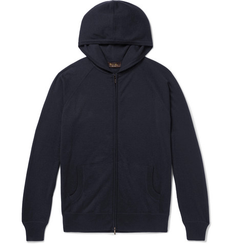 Loro Piana Portland MÉlange Cashmere And Silk-blend Zip-up Hoodie In Blue