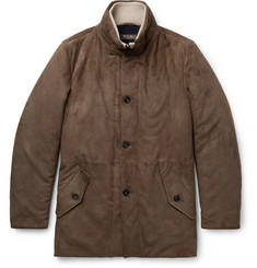 Loro Piana Wool and Cashmere-Trimmed Suede Jacket