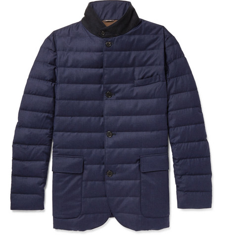Loro Piana Roadster Quilted Rain System Wool And Silk-blend Down Jacket In Blue