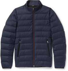 Loro Piana Gateway Quilted Rain System Wool and Silk-Blend Down Jacket