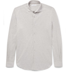 Loro Piana Andrew Slim-Fit Cutaway-Collar Cotton-Piqué Shirt