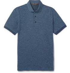 Loro Piana Puppytooth Virgin Wool and Cotton-Blend Polo Shirt