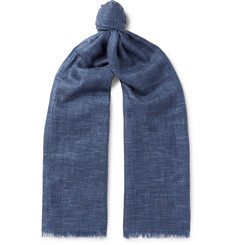 Loro Piana Brina Fringed Herringbone Cashmere and Silk-Blend Scarf