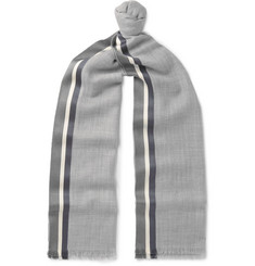 Loro Piana Fringed Striped Cashmere and Silk-Blend Scarf