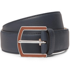 Loro Piana 3.5cm Navy Full-Grain Leather Belt