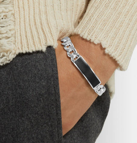 Sterling Silver And Leather Id Bracelet by Maison Margiela