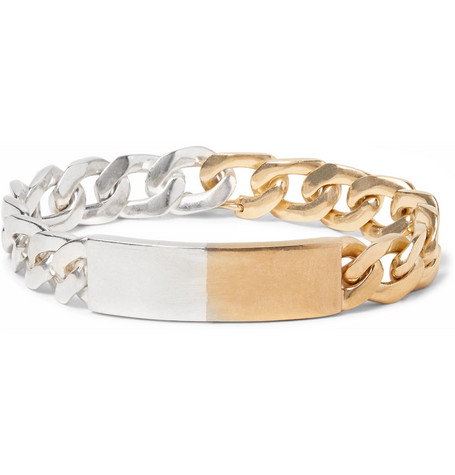 STERLING SILVER AND GOLD-TONE ID BRACELET