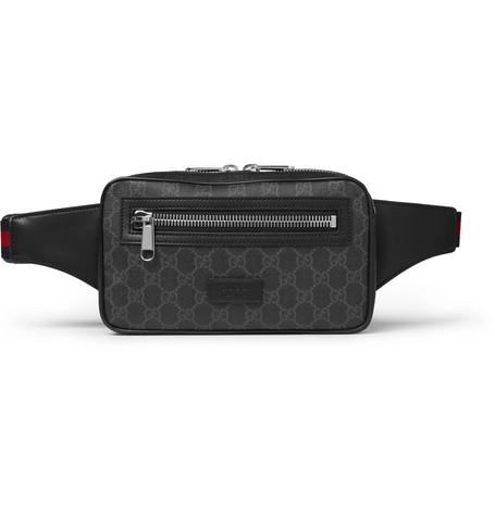 Leather-trimmed Coated-canvas Belt Bag