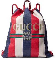 Gucci - Leather-Trimmed Logo-Print Striped Canvas Drawstring Backpack
