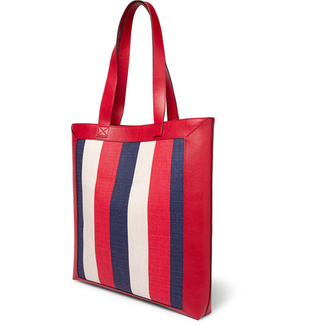 ba90ae9c552 Gucci Leather-Trimmed Logo-Print Striped Canvas Tote Bag - Red - One ...