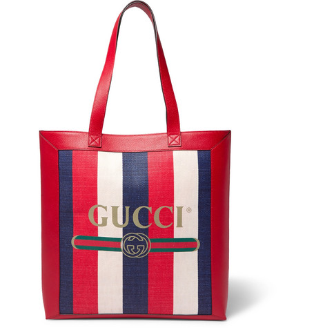 ef432a0550f22 Gucci - Leather-Trimmed Logo-Print Striped Canvas Tote Bag