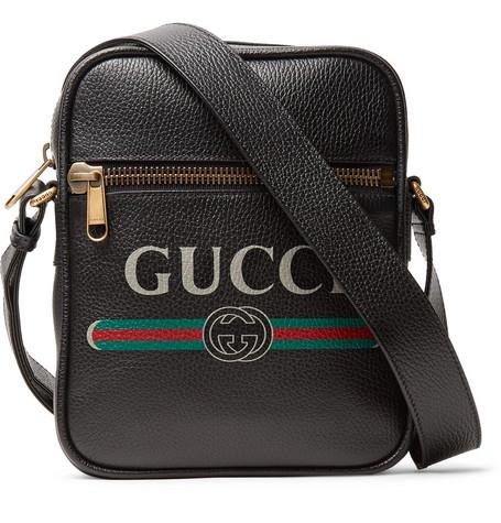 Logo-print Full-grain Leather Messenger Bag