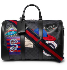 Gucci Night Courrier Leather-Trimmed Appliquéd Monogrammed Coated-Canvas Holdall