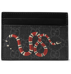 Gucci - Printed Monogrammed Coated-Canvas and Leather Cardholder