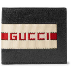 Gucci Webbing-Trimmed Full-Grain Leather Billfold Wallet