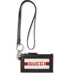 Gucci Webbing-Trimmed Full-Grain Leather Cardholder