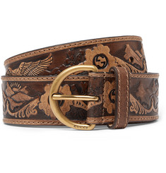 Gucci Brown Embossed Leather Belt