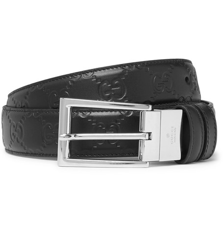 3cm Black Reversible Logo Embossed Leather Belt by Gucci