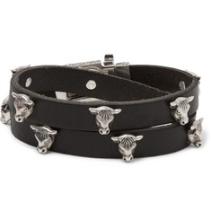 Gucci - Leather and Silver-Tone Wrap Bracelet