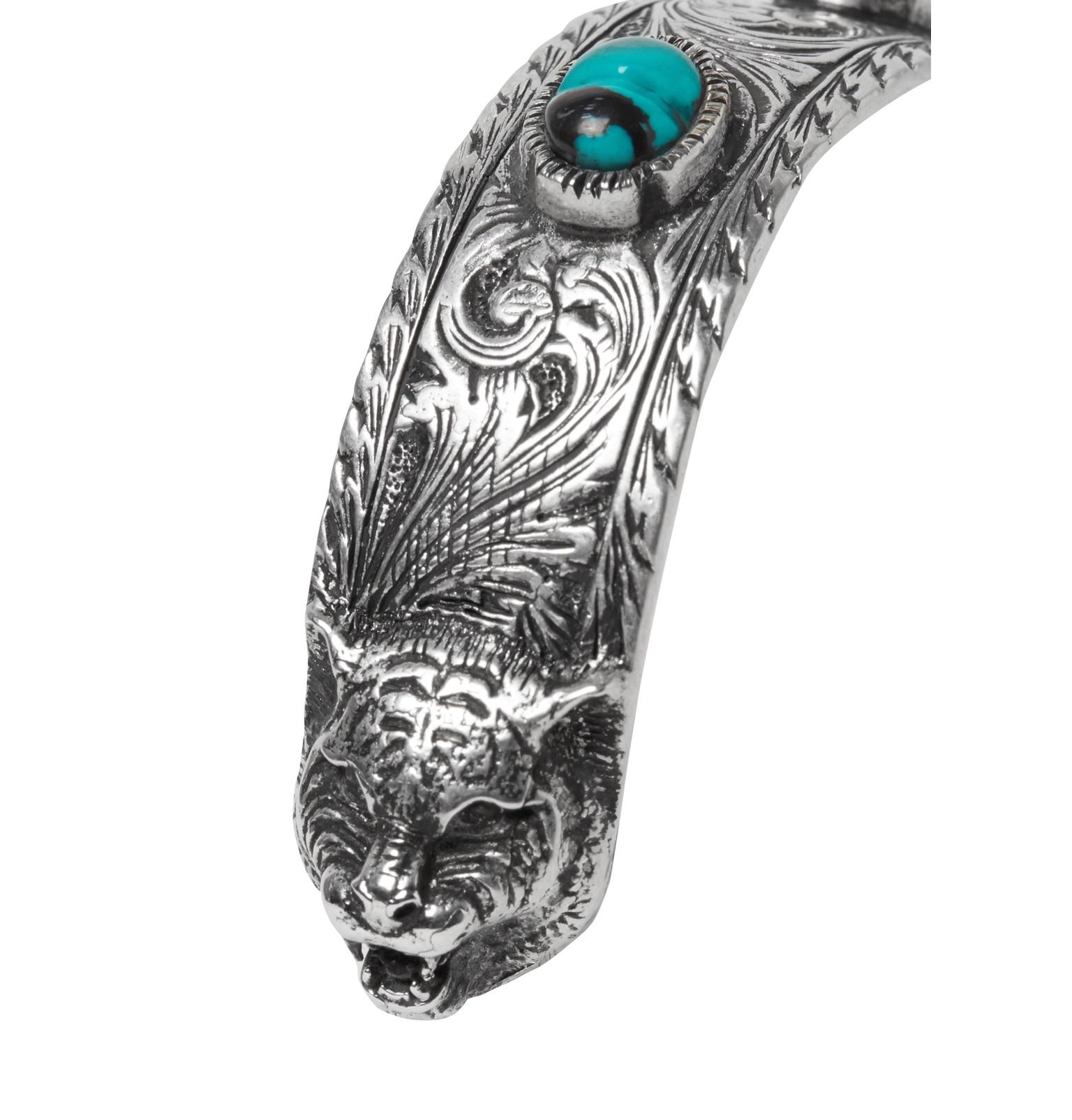 ca037c73ae3 Gucci - Tiger Head Sterling Silver Turquoise Cuff