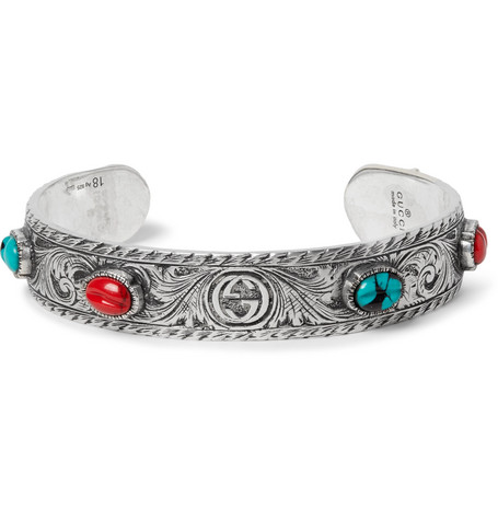 Tiger Head Sterling Silver Turquoise Cuff by Gucci