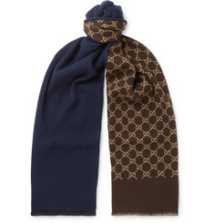 Gucci - Logo-Intarsia Wool and Silk-Blend Scarf