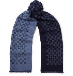 Reversible Logo-print Wool Scarf - Navy