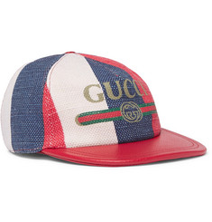 Gucci Leather-Trimmed Linen Baseball Cap