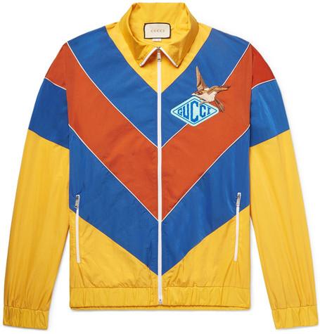 593ba0c23 Gucci - Appliquéd Colour-Block Shell Jacket