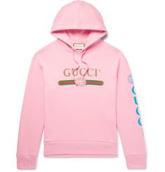 hot sale online d9ae8 6abaf Gucci - Appliquéd Logo-Print Loopback Cotton-Jersey Hoodie
