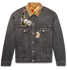 Gucci - Corduroy-Trimmed Appliquéd and Printed Denim Jacket
