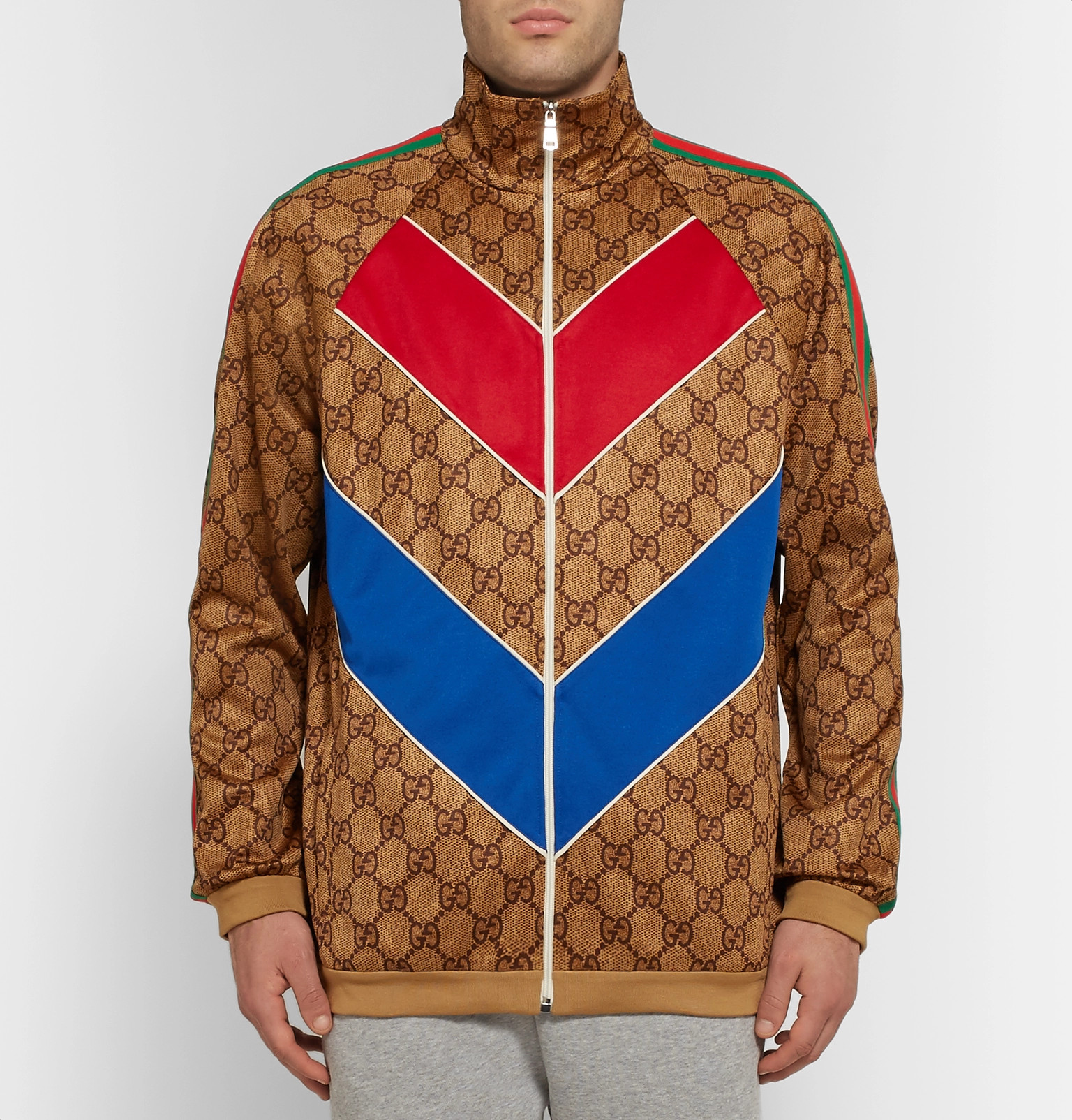 a825f2855 Gucci - Oversized Webbing-Trimmed Logo-Print Tech-Jersey Track Jacket