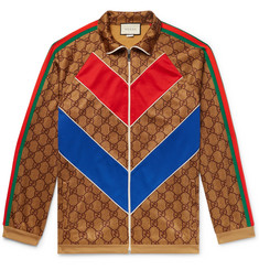 Gucci Oversized Webbing-Trimmed Logo-Print Tech-Jersey Track Jacket