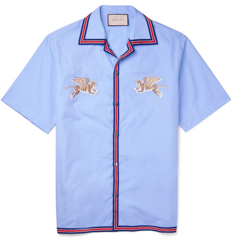 2fba208d72e Gucci - Camp-Collar Embroidered Cotton Shirt