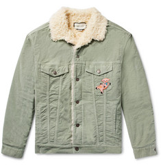 Gucci - Oversized Faux Shearling-Lined Embroidered  Stretch Cotton-Corduroy Trucker Jacket